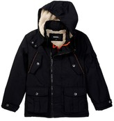 Diesel Faux Shearling Lined Parka with Felt Patch (Big Boys)