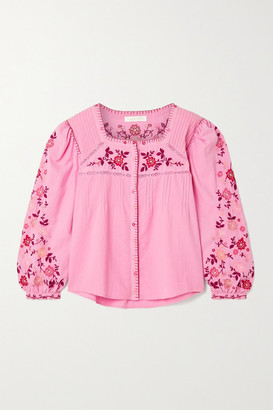 LoveShackFancy Amour Lace-trimmed Embroidered Cotton-voile Blouse - Pink