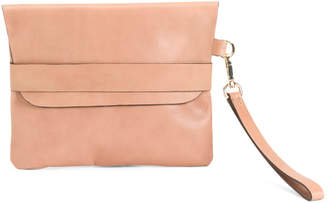 Made In Italy Leather Flap Over Clutch