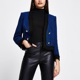 Thumbnail for your product : River Island Womens Blue dogtooth boucle crop blazer