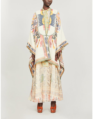 Etro Pattern-embroidered wool-blend cape