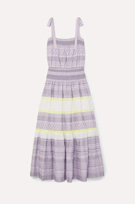 Tory Burch Smocked Embroidered Striped Silk Dress - Lilac