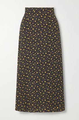 Reformation Net Sustain Bea Floral-print Crepe Midi Skirt - Black