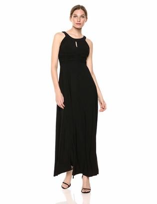 SL Fashions Women's Ruched Waist Solid Maxi Dress