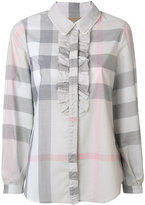 Burberry ruffle detail check shirt - women - Cotton - 2