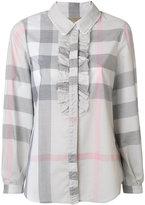 Burberry ruffle detail check shirt
