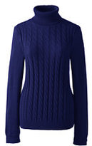 Classic Women's Tall Cotton Cable Turtleneck Sweater-Vicuna Heather