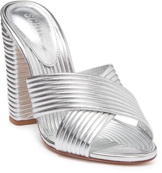 Schutz Emma Metallic Leather Strappy Block Heel Sandal