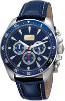 Just Cavalli 44mm Men's Sport Chrono Watch w/ Calf Leather Strap, Blue