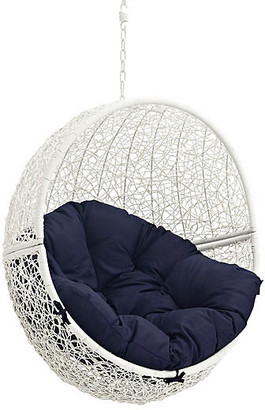 One Kings Lane Hide Outdoor Porch Swing - White/Navy