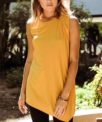 Milly Penzance Women's Tunics mustard - Mustard Asymmetric-Hem Sleeveless Tunic - Women & Plus