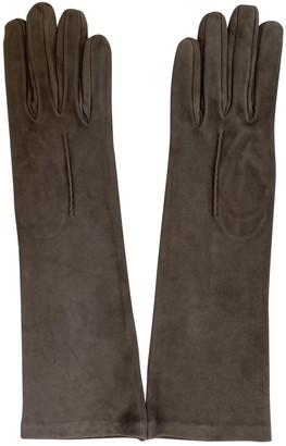 Saint Laurent Grey Suede Gloves