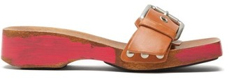 Marni Wood-sole Leather Clog Slides - Womens - Brown