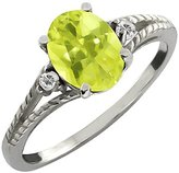 Gem Stone King 1.70 Ct Oval Yellow Lemon Quartz and White Topaz 18k White Gold Ring