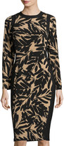 Maggy London Brushstroke-Print Jersey Midi Dress, Buff/Black