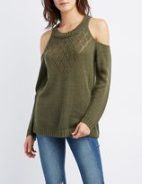 Charlotte Russe Cold Shoulder Pointelle Sweater
