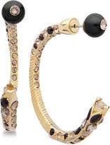 Givenchy Gold-Tone Crystal & Black Bead Open Hoop Earrings
