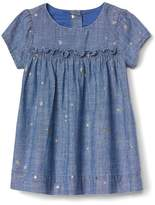 Silver star chambray dress
