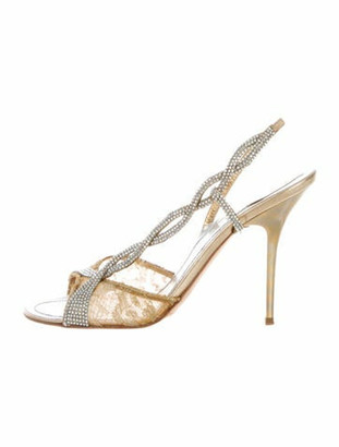 Rene Caovilla Crystal Embellishments Slingback Sandals Gold