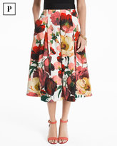 White House Black Market Petite Poppy Full Midi Skirt