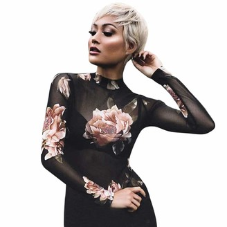 jieGorge Blouse for Women Women Long Sleeve Sexy Transparent T-Shirt Floral Skinny Blouse Sheer Tops M