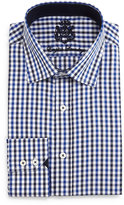English Laundry Check Woven Dress Shirt, Black/Dark Blue
