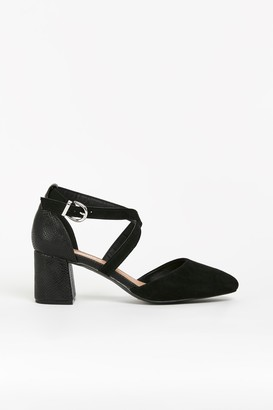 Wallis WIDE FIT Black Cross Strap Block Heels