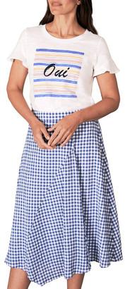 Blue Illusion Cotton Gingham Skirt