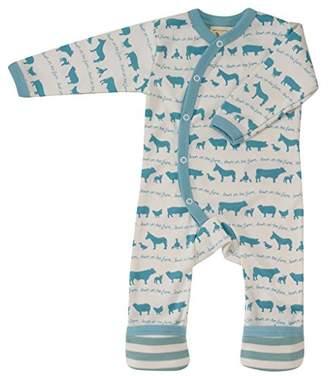 Pigeon-organics For Kids Pyjama Romper Suit Long Farm Blue 6-12 Months