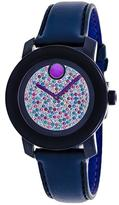 Movado Bold 3600263 Women's Blue Leather Watch with Crystal Accents