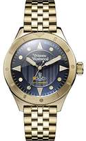 Vivienne Westwood Men's Quartz Watch with Blue Dial Analogue Display and Gold Stainless Steel Bracelet VV160NVGD
