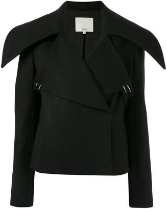 Tibi cropped oversized-collar jacket