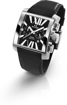 TW Steel Men's Square Stainless Steel Ceo Goliath Chronograph Black Dial Leather Strap Date Display