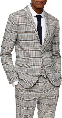 Topman Check Skinny Fit Suit Blazer