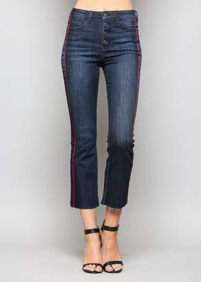 Flying Monkey VERVET BY High Rise Button Up Tuxedo Cropped Jeans