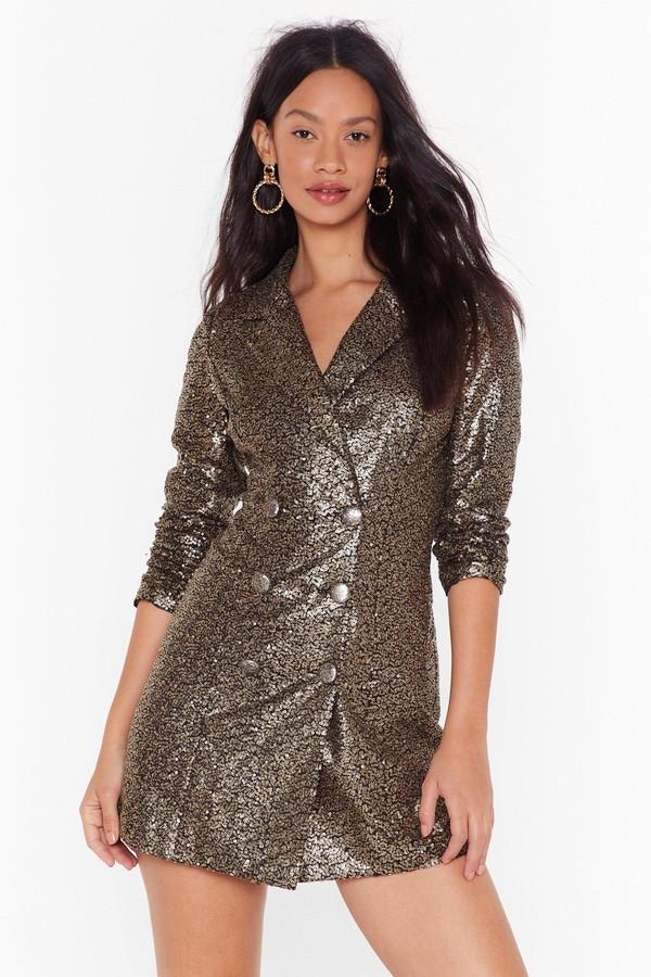 Nasty Gal Womens We Always Sequin Blazer Dress - Metallics - 6
