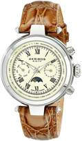 Akribos XXIV Men's AK697BR Ultimate Swiss Quartz Multifunction Beige Dial Brown Leather Strap Watch