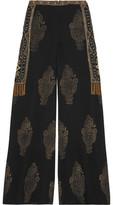 Haute Hippie Embellished Silk-Chiffon Wide-Leg Pants