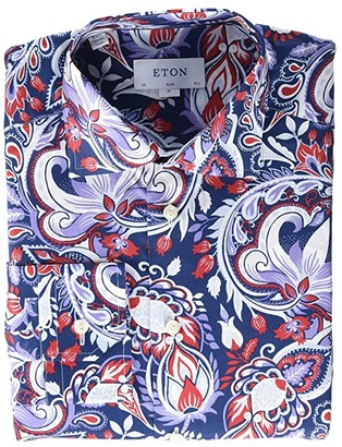 Eton Slim Fit Large Paisley Button-Down (Red/Blue/White) Men's Clothing