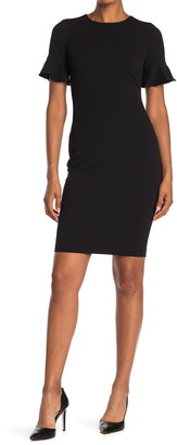 Calvin Klein Short Flutter Sleeve Sheath Dress