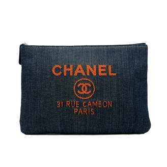 Chanel Deauville Navy Cloth Clutch bags