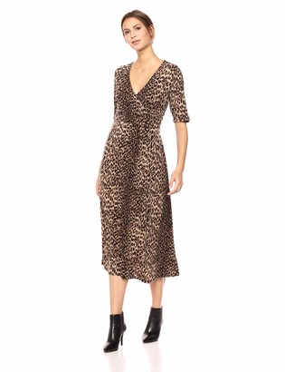Chaus Women's Elbow SLV Leopard Spots Wrap Dress