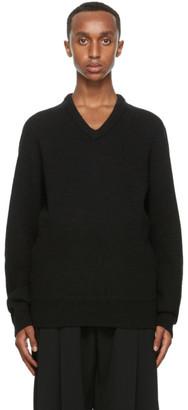 Lemaire Black Shetland Wool V-Neck Sweater