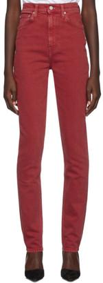 Helmut Lang Red Femme Spikes Comfort Jeans
