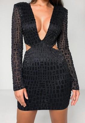 Missguided Black Embellished Cut Out Side Mini Dress