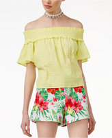 The Edit By Seventeen Juniors' Off-The-Shoulder Eyelet Top, Only at Macy's