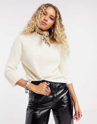 Only 3/4 sleeve high neck jumper in cream