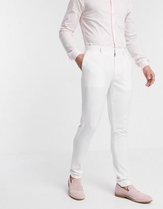 ASOS DESIGN wedding super skinny suit pants in white