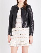 Sandro Collarless leather jacket