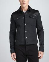 Burberry Leather-Trimmed Denim Jacket, Black